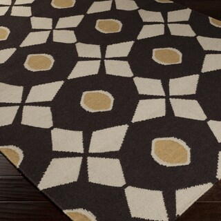 Hand-woven Espresso Neutral Octo Wool Rug (5' x 8')