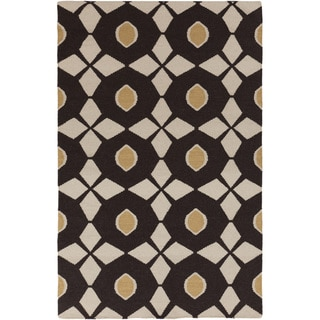Hand-woven Espresso Neutral Octagon Wool Rug (8' x 11')