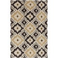 Hand-woven Neutral Diamond Parchment Wool Rug (5' x 8')