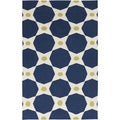 Hand-woven Navy Octo Midnight Blue Wool Rug (9' x 13')
