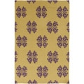 Hand-woven Stencil Gold Golden Yellow Wool Rug (9' x 13')