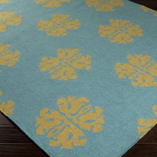 Hand-woven Stencil Sky Teal Wool Rug (5' x 8')