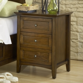Modern Shaker Truffle Three-Drawer Solid Mahogany Nightstand