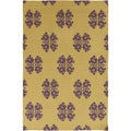 Hand-woven Stencil Gold Golden Yellow Wool Rug (2' x 3')
