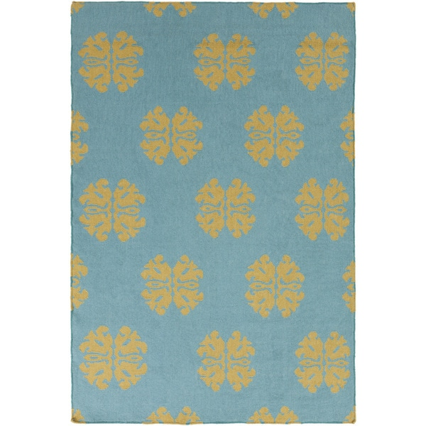 Hand-woven Stencil Sky Teal Wool Rug (8' x 11')