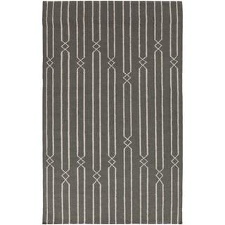 Hand-woven Lelystad Grey Wool Rug (8' x 11')