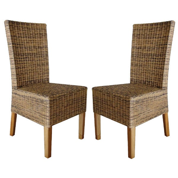 Rattan Living Wicker Dining Chairs (Set of 2)