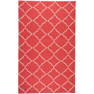 Hand-woven Bolsward Red Wool Rug (9' x 13')