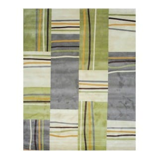 Indo Hand-tufted Beige/ Green Wool Rug (8' x 10')