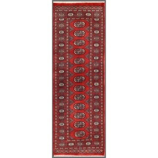 Pakistani Hand-knotted Bokhara Red/ Ivory Wool Runner Rug (2' x 6')