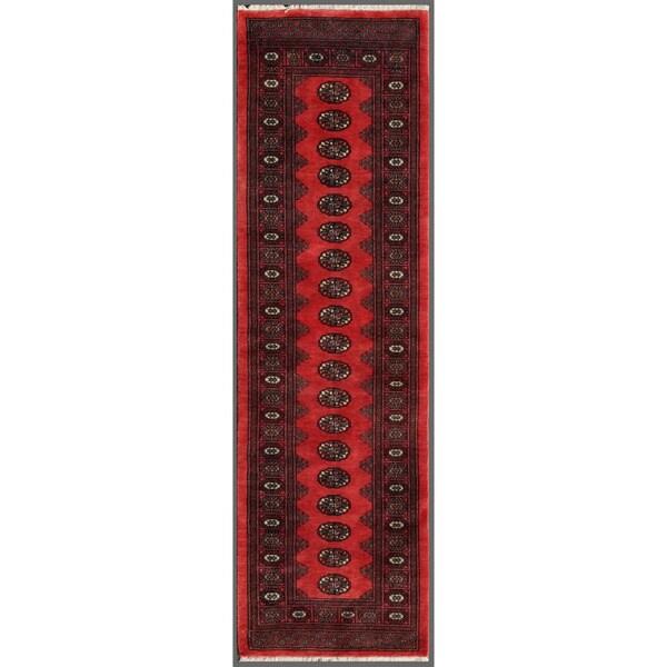 Pakistani Hand-knotted Bokhara Red/ Ivory Wool Rug (2'7 x 8'9)