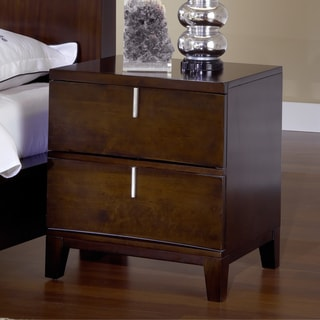 Domusindo Reverse Bowfront Chocolate Brown 2-drawer Nightstand