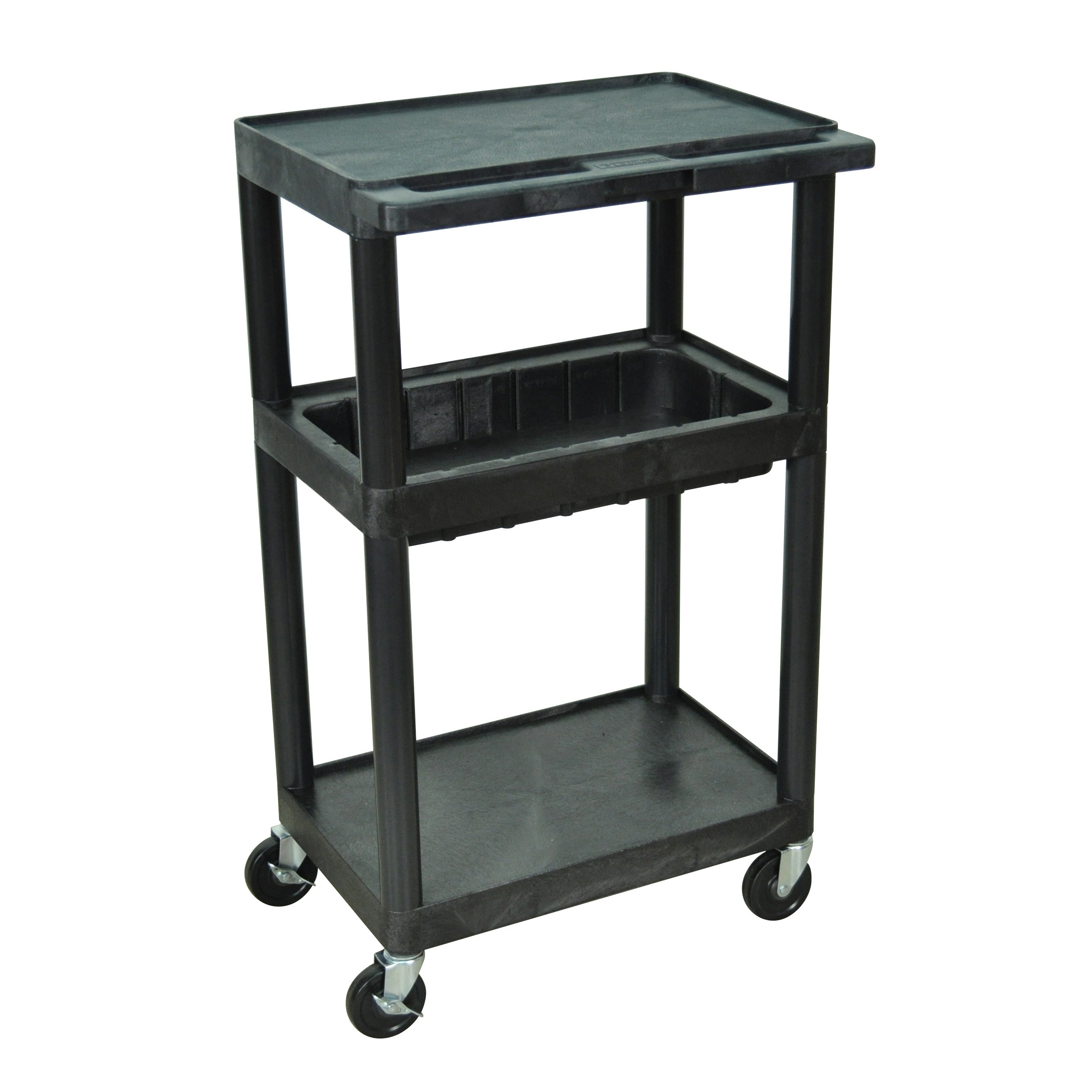 Luxor Black Utility Cart with Middle Tub Shelf and Flat Top and Bottom Shelves at Sears.com