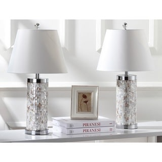 "Safavieh Lighting 25.5-inch Diana Sea Shell Table Lamp (Set of 2) - 14""x14""x25"""