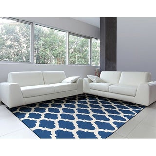 Hand-woven Sloten Navy Lattice Flatweave Wool Rug (9' x 13')