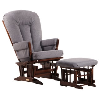 Dutailier Ultramotion Coffee/ Dark Grey Multi-position, Recline 2-post Glider and Nursing Ottoman Set