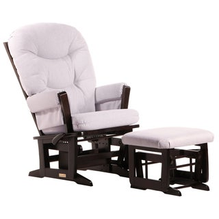 Dutailier Ultramotion Modern Padded Multi-Position Espresso/Light Grey Reclining Glider and Nursing Ottoman Set