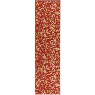 Non-Skid Ottohome Burgundy Floral Leafs Runner Rug (1'8 x 4'11)