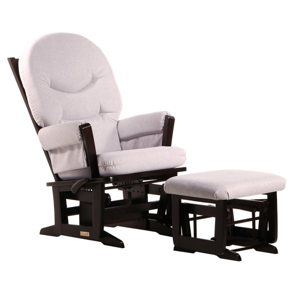 Dutailier Ultramotion Espresso/ Light Grey Multi-position, Recline Modern Glider and Nursing Ottoman Set