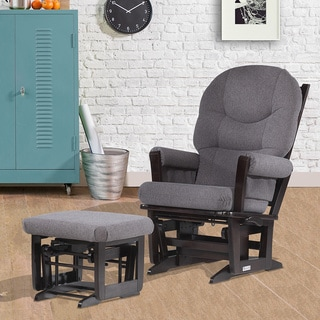 Dutailier Ultramotion Espresso/ Dark Grey Multi-position, Recline Modern Glider and Nursing Ottoman Set