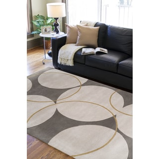 Hand-tufted Buren Grey Geometric Circles Wool Rug (9' x 13')