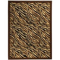 Non-Skid Ottohome Brown Animal Print Zebra Area Rug (3'3 x 5')