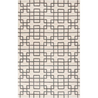 Hand-tufted Limburg Blue Geometric Wool Rug (8' x 11')