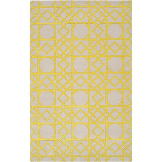 Hand-tufted Thorn Yellow Geometric Trellis Wool Rug (8' x 11')
