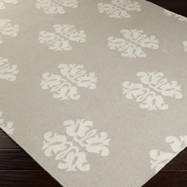 Hand-woven Stencil Beige Beige Wool Rug (5' x 8')