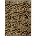 Non-Skid Ottohome Black Animal Print Leopard Circles Area Rug (5' x 6'6)