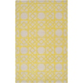 Hand-tufted Thorn Yellow Geometric Trellis Wool Rug (3'3 x 5'3)