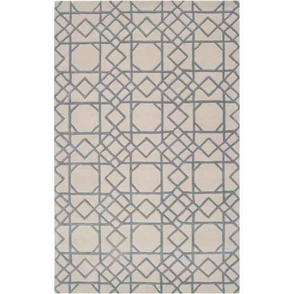 Hand-tufted Weert Slate Blue Geometric Trellis Wool Rug (8' x 11')