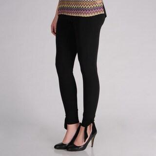 AnnaLee + Hope Women's Black Bow Detail Leggings