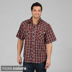 Farmall IH Men's Western Plaid Snap-Button Short-Sleeve Shirt