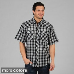 Farmall IH Men's Western Plaid Snap-Button Standard-Collar Shirt