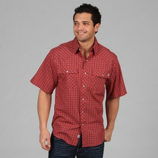 Farmall IH Men's Red Western Plaid Snap Button Shirt