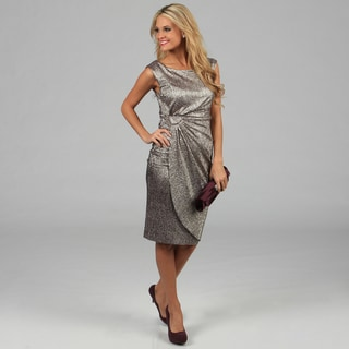 Connected Apparel Women's Metallic Ruched Sleeveless Dress