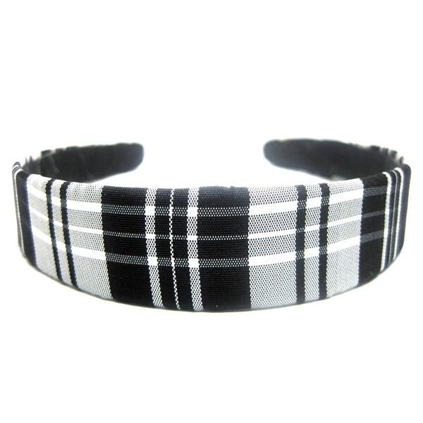 Crawford Corner Shop 1-inch Black and White Plaid Taffeta Headband