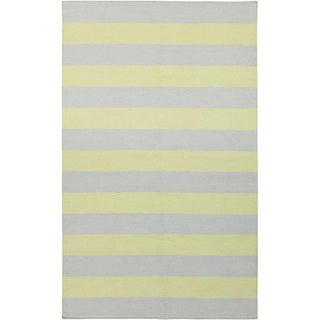 Handwoven ChartruseStripe YellowGreen Wool Rug (8' x 11')