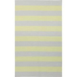 Handwoven ChartruseStripe YellowGreen Wool Rug (8' x 11')