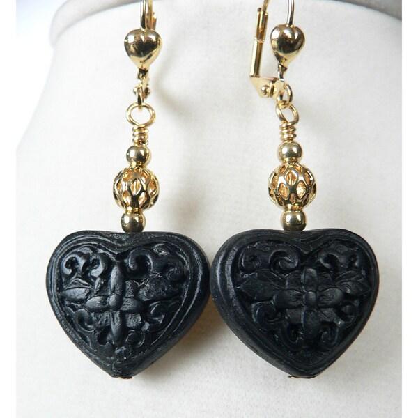 'Bianca' Cinnabar Heart and Flower Dangle Earrings