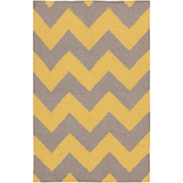 Handwoven MustardChevron Yellow Wool Rug (2' x 3')