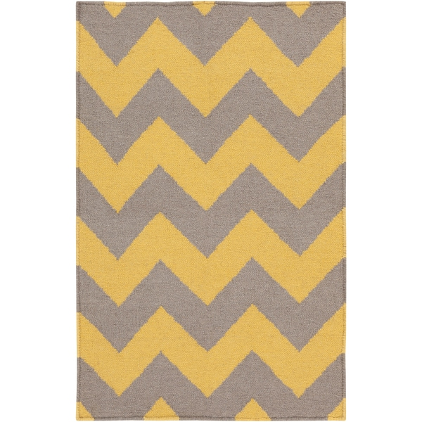 Handwoven MustardChevron Yellow Wool Rug (3'6 x 5'3)