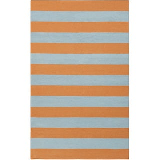 Handwoven TangerineStripe Pumpkin Wool Rug (2&#39; x 3&#39;)