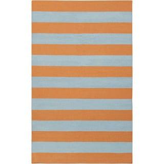 Handwoven TangerineStripe Pumpkin Wool Rug (2' x 3')