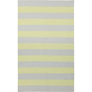 Handwoven ChartruseStripe YellowGreen Wool Rug (9' x 13')