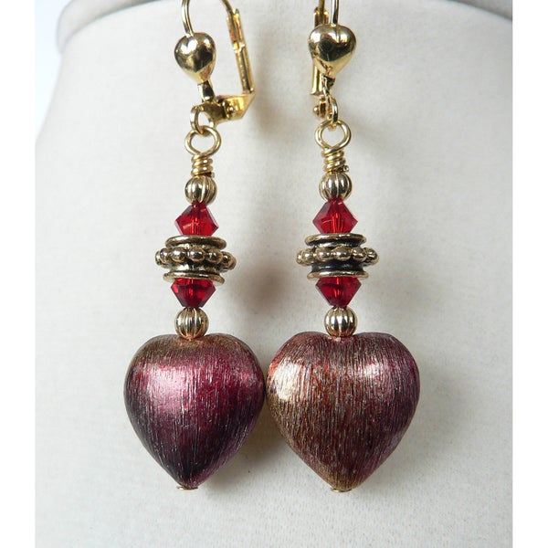 'Scarlet' Iridescent Heart Earrings