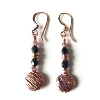 'Trina' Textured Copper Circle Earrings