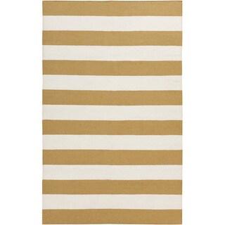 Handwoven Yellow Stripe Mustard Wool Rug (2' x 3')