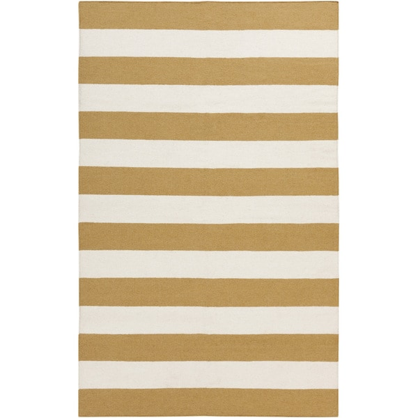 Hand-woven Yellow Stripe Mustard Wool Rug (8' x 11')